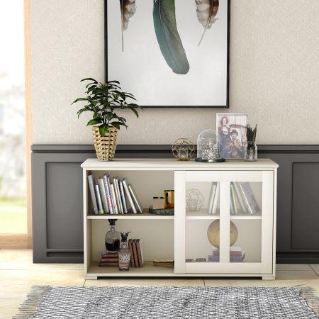 Costway Sideboard Küchenschrank Wohnzimmerregel mit Schiebetüren Weiß 106,5 x 33 x 62,5 cm