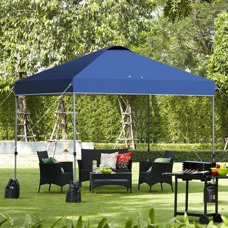 Costway 3 x 3m Pop-up Gartenpavillon Faltpavillon Pavillon Sonnenschutz Outdoor Sofortschutz Gartenpavillon Blau