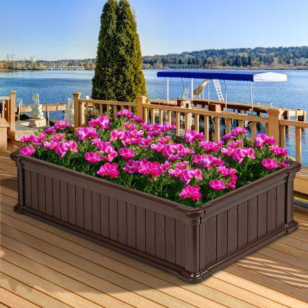 Costway Hochbeet Erhöhtes Gartenbeet Rechteckige Pflanzenbox für Pflanzen und Gemüse Outdoor Pflanzenkübel 122 x 60 x 30 cm Braun