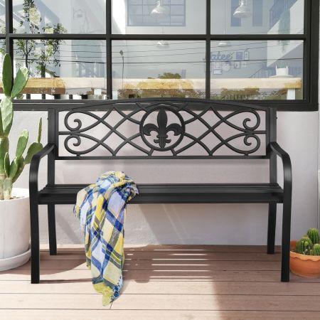 Costway Gartenbank aus Stahl klassischer Gartenbank Sitzbank Terrassenbank 128 x 60 x 89 cm Schwarz
