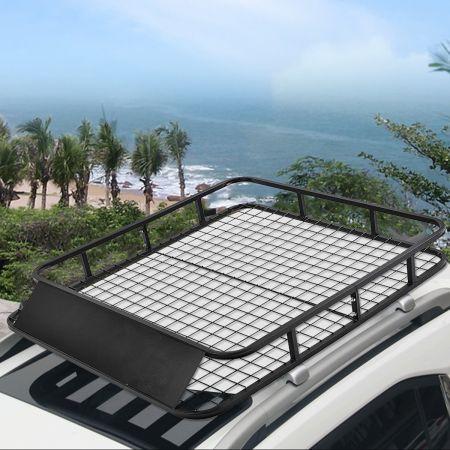 Costway Universaler Dachgepäckträger Auto-Gepäckträger Dachkorb aus Stahl 122,5 x 102 x 15 cm Schwarz