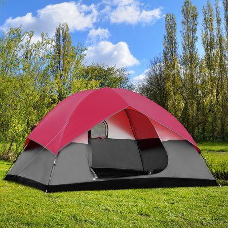Costway Campingzelt 5-6 Personen Kuppelzelt Wurfzelt Doppelschicht Winddichte 300x300x165cm Rot und Grau