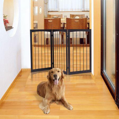COSTWAY Treppengitter Klappbares Hund Kinder Absperrgitter Türschutzgitter 160 x 1,2 x 76 cm Braun