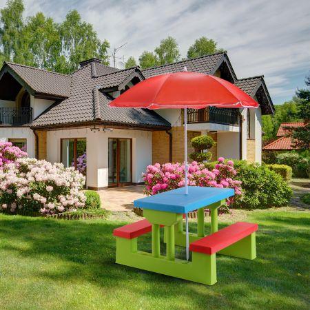 Kindersitzgruppe Sitzgarnitur Kindertisch Bank Picknickbank Kindermöbel mit Sonnenschirm