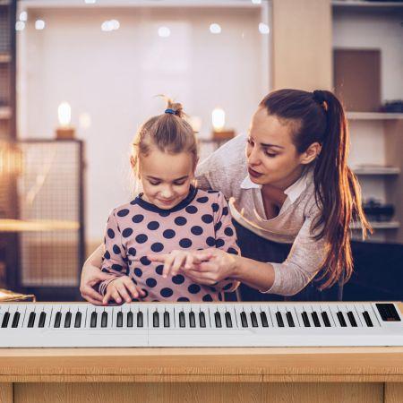Costway 88 Tastatur digitale Keyboard Tastatur für tragbares elektrisches Klavier 137 x 16,5 x 5 cm Weiß