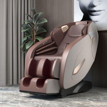 Costway Elektrischer Massagesessel Shiatsu-Massagesessel Shiatsu Sessel 143 x 77 x 111 cm Beige + Braun