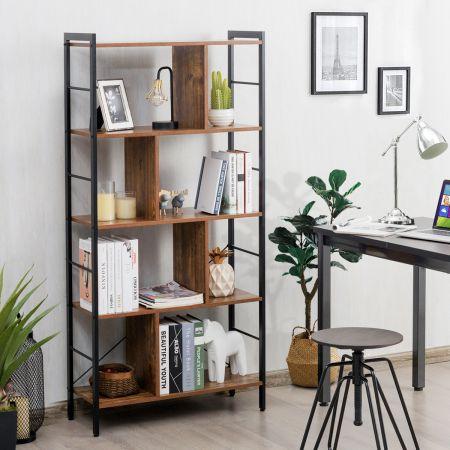 Costway 5-stöckiges Bücherregal Bücherregal mit Metallrahmen Standregal Holz 74 x 30 x 154,5 cm Braun