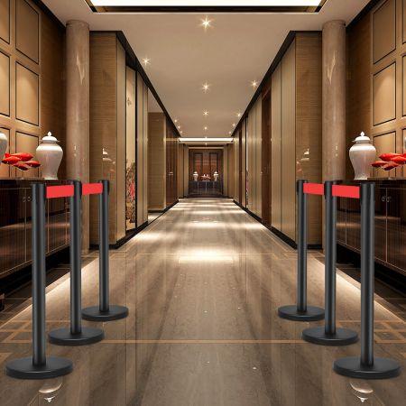 Costway 4er Set Absperrungen Edelstahl-Personenleitsystem Abgrenzungsständer mit Gurt Schwarz + Rot
