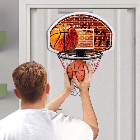 Costway Mini-Basketballkorb Backboard Innen und Außen für Wandmontage geeignet für Erwachsene & Kinder 73 x 49 cm