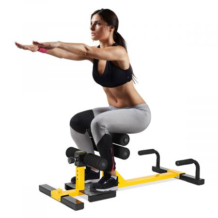 Costway 3-in-1 Kniebeugentrainer Squat Machine Abdominal Bein Trainingsgerät Gelb