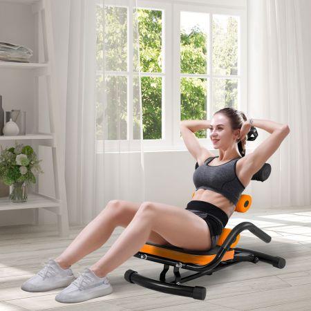 Costway Bauchtrainer drehbar Bauchmuskeltrainer Allround Trainer mit 3 Fach Rückenlehne