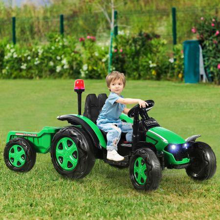 Costway 12V Kinder-Elektrotraktor mit Anhänger Spielzeug-Traktor 151 x 58 x 70 cm Grün