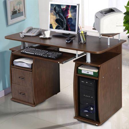 Schreibtisch Computertisch Bürotisch mit Druckerablage Tastaturauszug