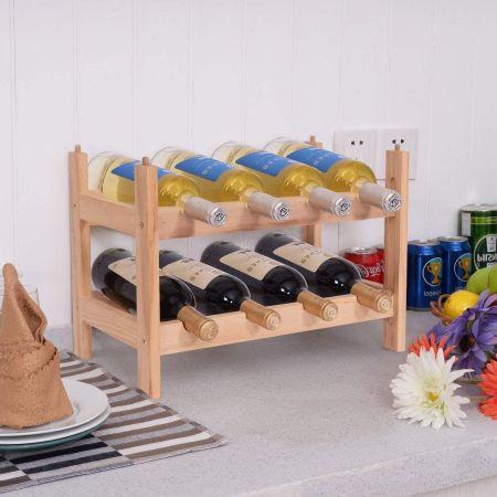 2 Ebenen Stapelbar Holz Weinschrank Weinregal Flaschenständer mit 8 Flaschen