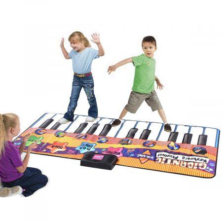 Kinder Musikmatte Klaviermatte Spielteppich Spielmatte Musik mit 8 Instrumenten 180x74cm