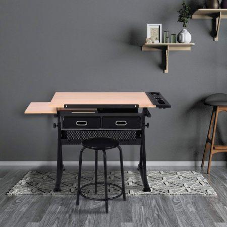Schreibtisch Zeichentisch Architektentisch Maltisch neigbar + Schubladen/Hocker