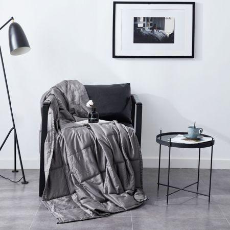 Gewichtsdecke Weighted Blanket Grau Baumwolle