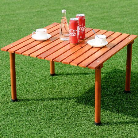 Camping-Tisch aufrollbar Gartentisch aus Tannenholz tragbarer Picknick-Tisch mit Tragetasche Braun