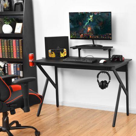 Costway Gaming Tisch Ergonomischer PC Computertisch Schreibtisch Schwarz