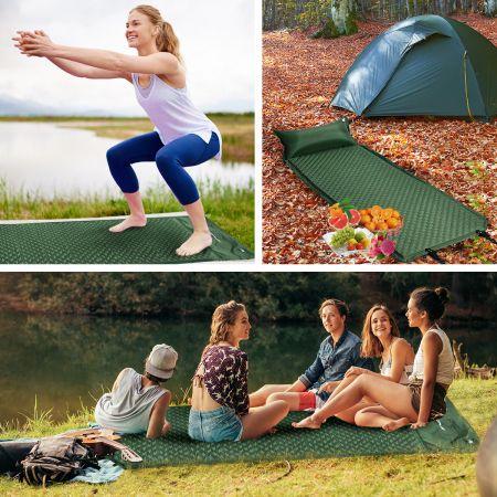COSTWAY Schlafmatte selbstaufblasbar mit Kissen und Tragetasche Camping Wandern Reisen