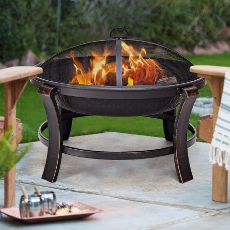 Feuerstelle Garten Grill Feuerkorb mit Funkenhaube 76 x 76 x 60 cm Schwarz