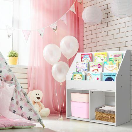 Costway Bücherregal Kinderregal Spielzeugkiste mit 3 Fächern Weiß Holz 73 x 30 x 80 cm