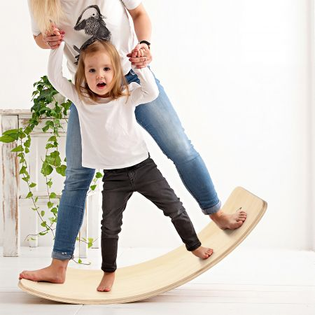Costway Balance Board Kurviges Board Balancierbrett aus Holz 90 x 30cm
