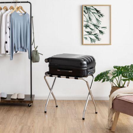Costway Gepäckablage klappbare Metall-Gepäckablage Kofferständer klappbar 67 x 41 x 54,5 cm Silber + Schwarz