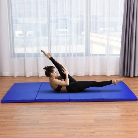 Costway Gymnastikmatte Klappbare Turnmatte Bodenmatte Blau 240 x 117 x 5 cm