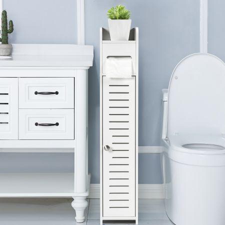 Costway Toilettenschrank freistehend Toilettenpapierhalter Badezimmer Schrank Weiß