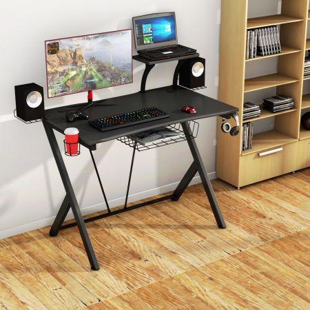 Costway Gaming Tisch Ergonomischer Computertisch Gaming Desk Schwarz 106 x 59,5 x 101,5 cm