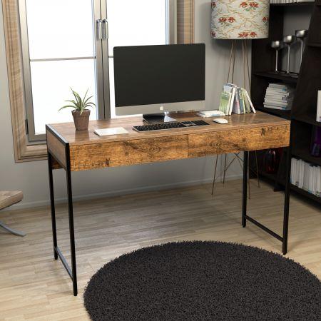 Costway Schreibtisch Computertisch Bürotisch PC Tisch Arbeitstisch mit 2 Schubladen