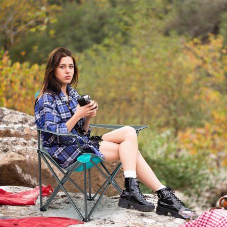 Costway Outdoor-Stuhl mit Sonnenschirm Robuster Campingstuhl mit Sonnendach 90 x 72 x 150 cm Türkis