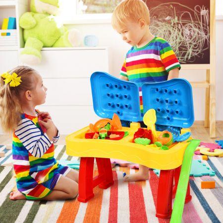 2-in-1 Sand- & Wasserspieltisch Sandkastentisch Spieltisch Sandkasten Spielzeug für innen- & Außen für Kinder 31-teilig