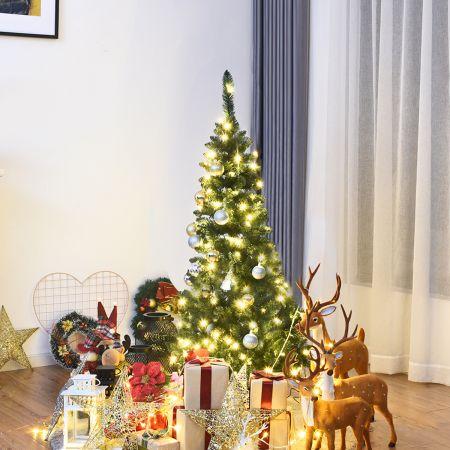 Costway 135cm Weihnachtsbaum schmal mit warmweißen LED-Leuchten künstlicher Tannenbaum Grün