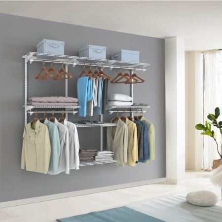 Costway Verstellbares Schranksystem Wandschrank-System mit Kleiderstange einstellbarer Schrank Weiß