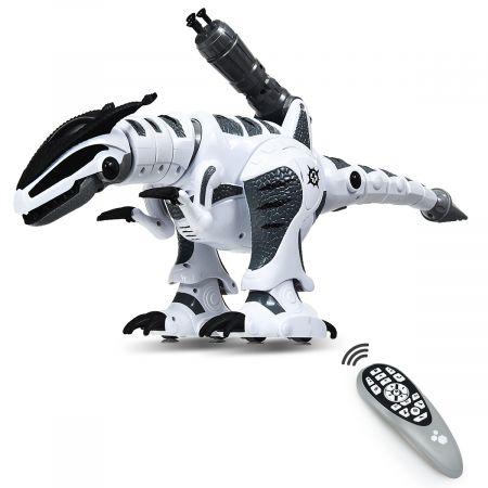 Costway Ferngesteuert Dinosaurier Roboter Intelligentes interaktives Roboter-Dinosaurier Dinosaurierspielzeug Weiß