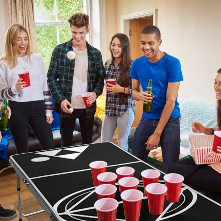 Costway Beer Pong Tisch Partyspiele klappbar Bierpong Tisch Campingtisch Trinkspiele höheverstellbar Schwarz