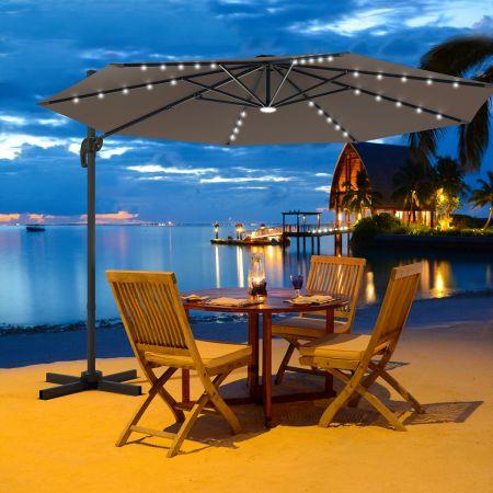 Costway Ø300 m Terrassenschirm mit Solarleuchten Outdoor-Schirm mit 360-Grad-Rotation Ampelschirm LED Sonnenschirm Braun