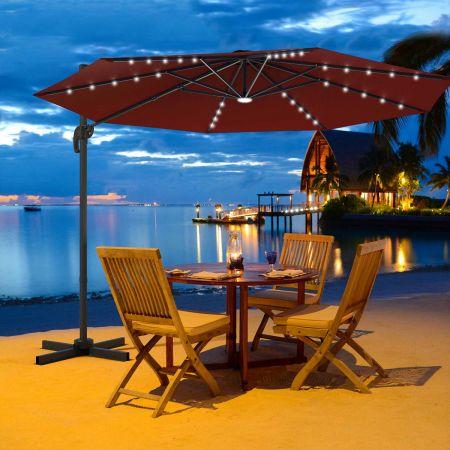 Costway Ø300cm Ampelschirm LED Sonnenschirm mit Kreuzständer Terrassenschirm neigbar Weinrot
