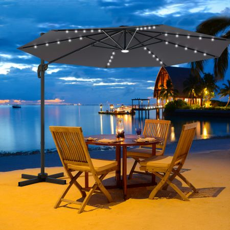Coswtay Ampelschirm LED Sonnenschirm Outdoor LED Gartenschirm neigbar mit Kreuzständer Grau