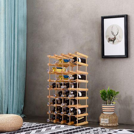 Weinregal aus Holz Flaschenregal Weinständer 40 Flaschen Holzregal Weinschrank