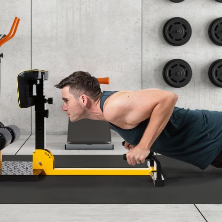 Costway Beintrainer 8-in-1 Multifunktionaler Kniebeugentrainer Trainingsgerät für Liegestütze Bauchmuskel Gelb und Schwarz