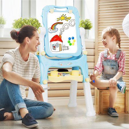 2 in 1 Kindertafel Staffelei doppelseitig Whiteboard & Kreidetafel Schreibtafel Blau