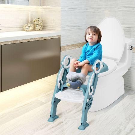 Costway Kinder Toilettensitz faltbar Kinder Toilettentrainer Töpfchentrainer mit Leiter und Griffe Grün