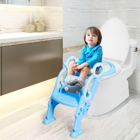 Costway Kinder Toilettensitz faltbar Kinder Toilettentrainer Töpfchentrainer mit Leiter und Griffe Blau