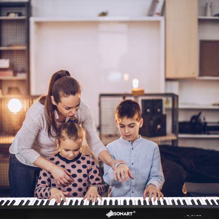 Costway Digitales Piano Keyboard 88 Tasten tragbares elektronisches Musikinstrument Kinderklavier Kinderpiano Schwarz