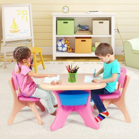 Costway 3tlg. Kindersitzgruppe Sitzgruppe Kindertisch&2 Kinderstühlen Aufbewahrungsboxen Rosa
