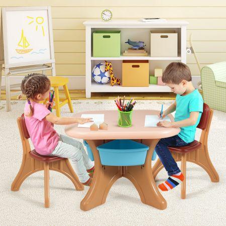 Costway 3tlg. Kindersitzgruppe Sitzgruppe Kindertisch&2 Kinderstühlen Aufbewahrungsboxen Braun
