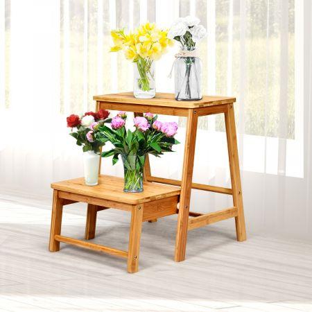 Costway 2-Stufen Tritthocker Leiterstuhl klappbar Trittstuhl aus Bambus bis 100kg belastbar Natur